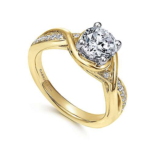 Bailey 14k Yellow And White Gold Round Twisted Engagement Ring angle 3
