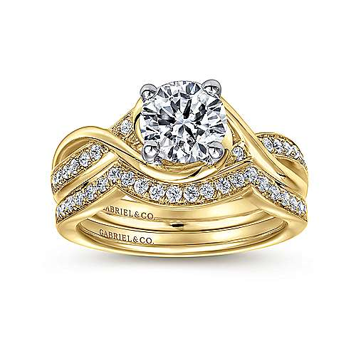 Bailey 14k Yellow And White Gold Round Twisted Engagement Ring angle 4