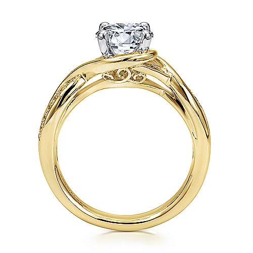 Bailey 14k Yellow/white Gold Round Twisted Engagement Ring angle 2