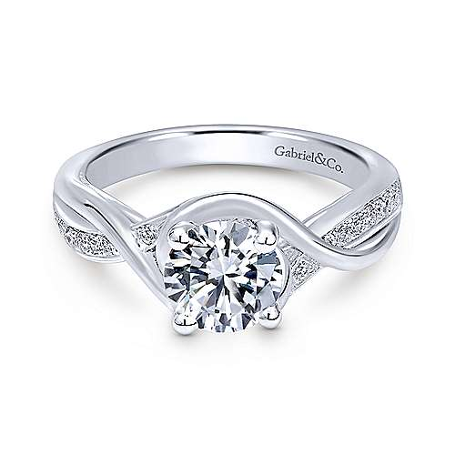 Gabriel - Bailey 18k White Gold Round Twisted Engagement Ring