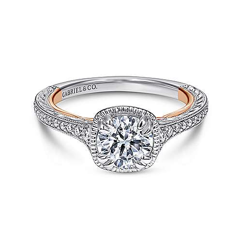 Gabriel - Bali 18k White And Rose Gold Round Straight Engagement Ring