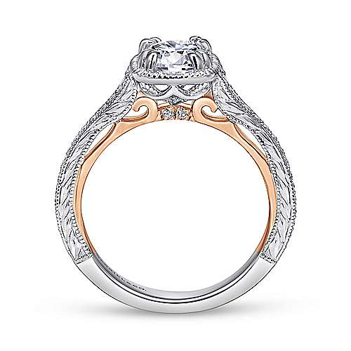Bali 18k White And Rose Gold Round Straight Engagement Ring angle 2