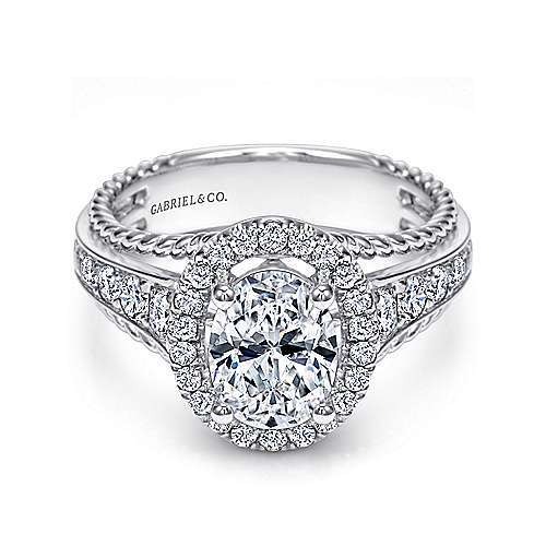 Gabriel - Ballantine 14k White Gold Oval Halo Engagement Ring