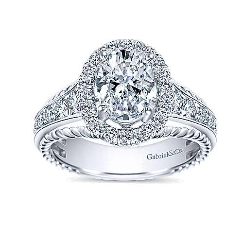 Ballantine 14k White Gold Oval Halo Engagement Ring angle 5