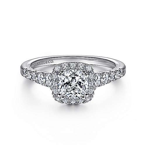 Gabriel - Balsam 14k White Gold Cushion Cut Halo Engagement Ring