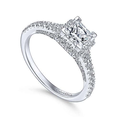 Balsam 14k White Gold Princess Cut Halo Engagement Ring angle 3