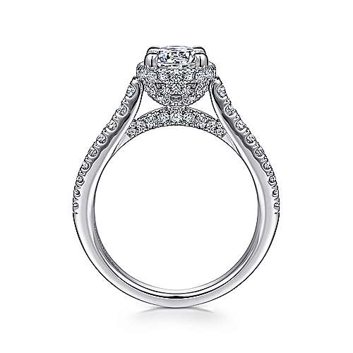 Barcelona 14k White Gold Round Straight Engagement Ring angle 2