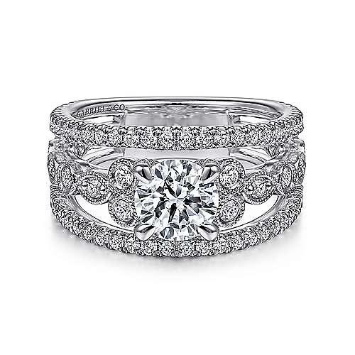 Barden 14k White Gold Round Split Shank Engagement Ring