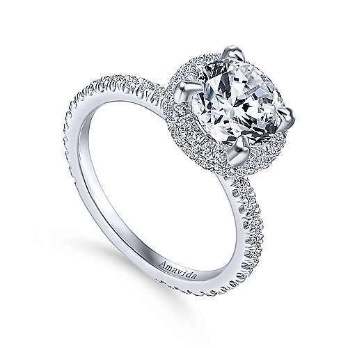 Bardot 18k White Gold Round Double Halo Engagement Ring angle 3