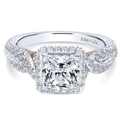 Gabriel - Bea 18k White And Rose Gold Princess Cut Halo Engagement Ring
