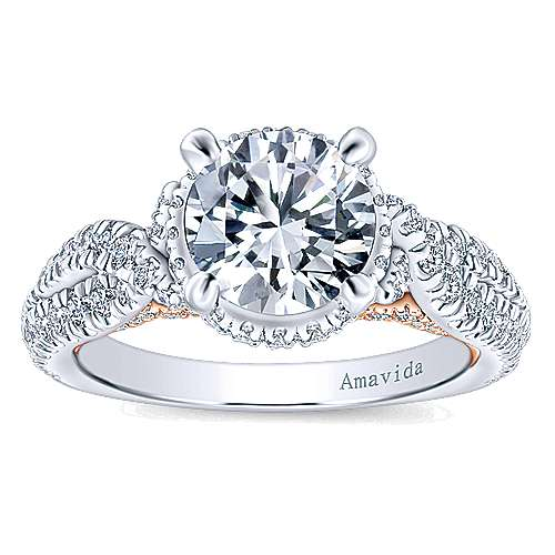 Bea 18k White And Rose Gold Round Halo Engagement Ring angle 5