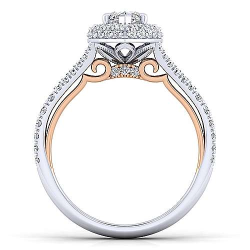 Beatrice 18k White And Rose Gold Marquise  Halo Engagement Ring angle 2