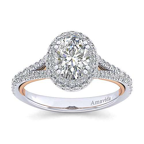 Beatrice 18k White And Rose Gold Oval Halo Engagement Ring