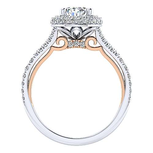 Beatrice 18k White And Rose Gold Pear Shape Halo Engagement Ring angle 2