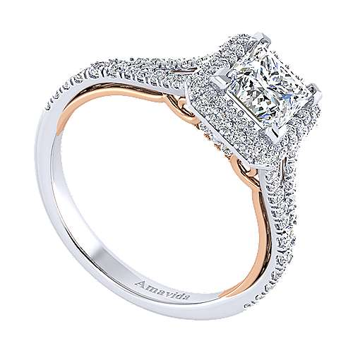 Beatrice 18k White And Rose Gold Princess Cut Halo Engagement Ring