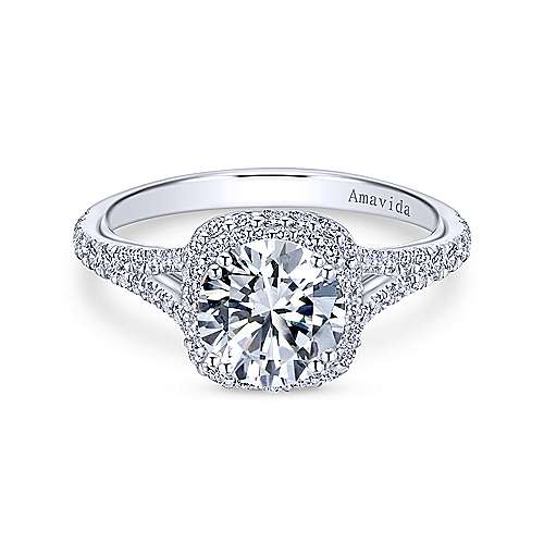 Gabriel - Beatrice Platinum Round Double Halo Engagement Ring