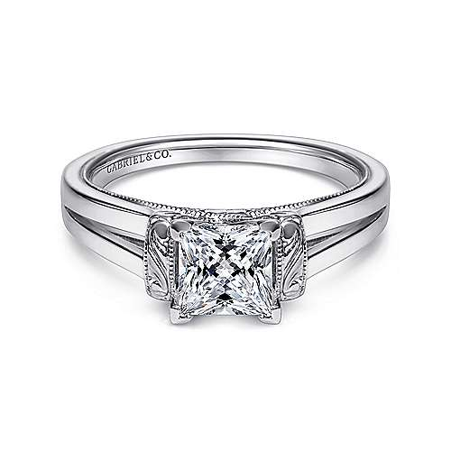 Gabriel - Beatrix 14k White Gold Princess Cut Solitaire Engagement Ring