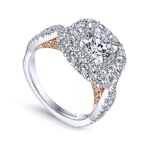 Beau 14k White And Rose Gold Round Double Halo Engagement Ring angle 3