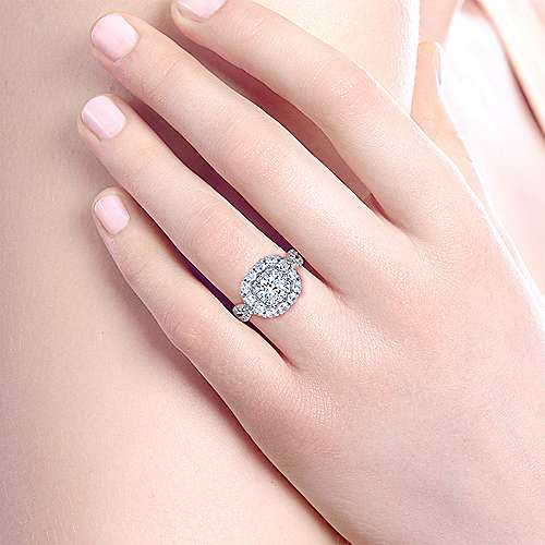 Beau 14k White And Rose Gold Round Double Halo Engagement Ring angle 6