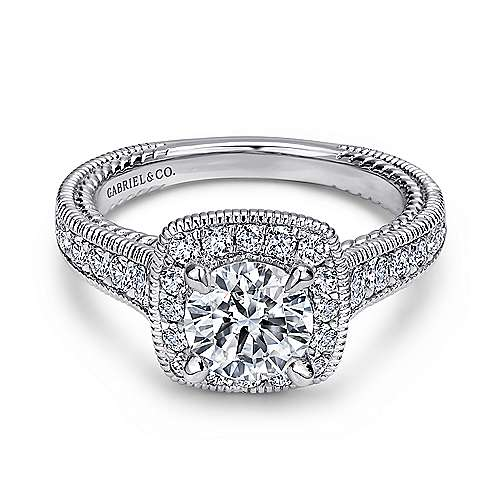 Gabriel - Beaufort 14k White Gold Round Halo Engagement Ring