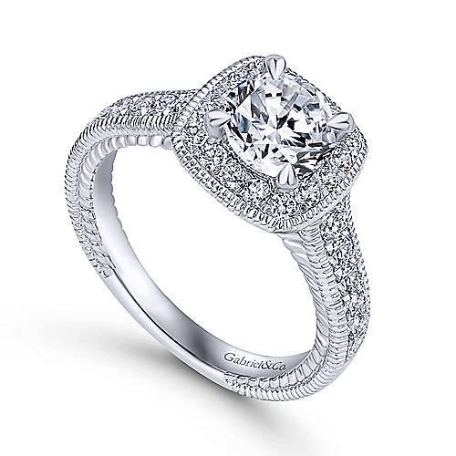 Beaufort 14k White Gold Round Halo Engagement Ring angle 3