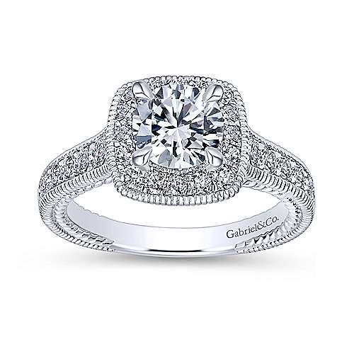 Beaufort 14k White Gold Round Halo Engagement Ring