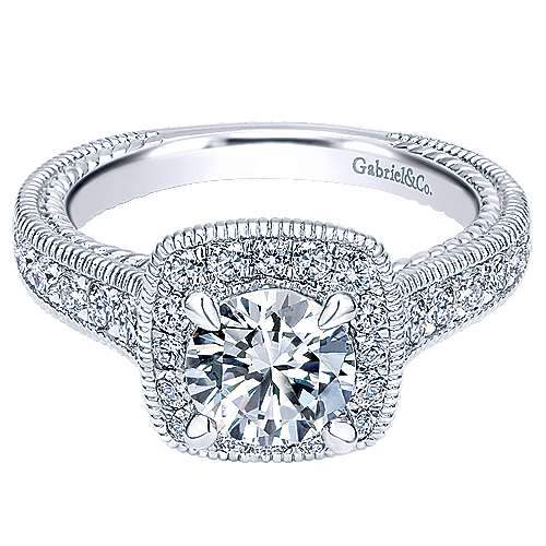 Beaufort 14k White Gold Round Halo Engagement Ring angle 1