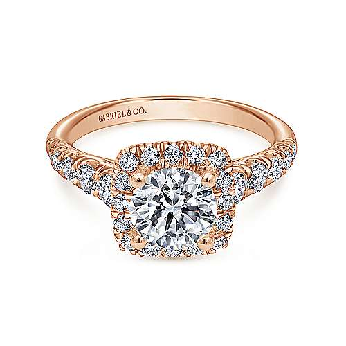 Gabriel - Beckett 14k Rose Gold Round Halo Engagement Ring