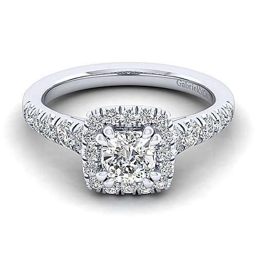Gabriel - Beckett 14k White Gold Cushion Cut Halo Engagement Ring