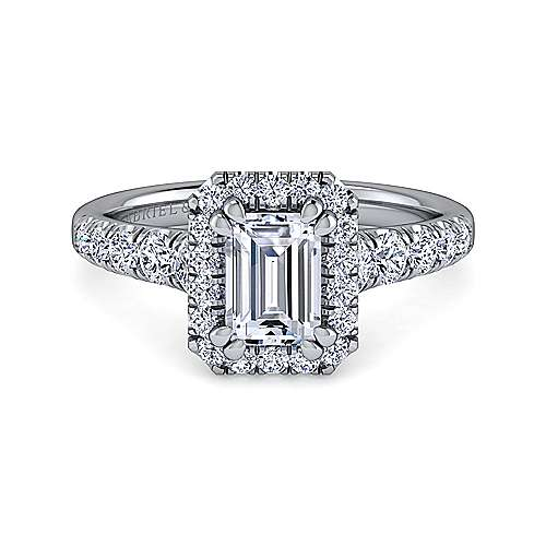 Gabriel - Beckett 14k White Gold Emerald Cut Halo Engagement Ring