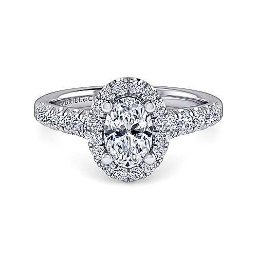 Gabriel - Beckett 14k White Gold Oval Halo Engagement Ring