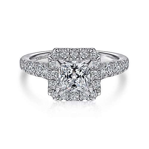 Gabriel - Beckett 14k White Gold Princess Cut Halo Engagement Ring