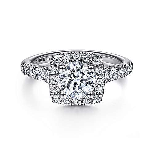 Beckett 14k White Gold Round Halo Engagement Ring angle 1