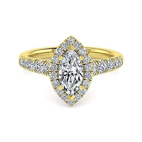 Beckett 14k Yellow Gold Marquise  Halo Engagement Ring angle 1