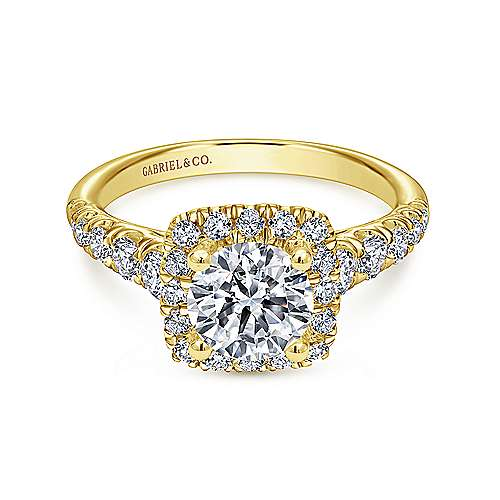 Gabriel - Beckett 14k Yellow Gold Round Halo Engagement Ring