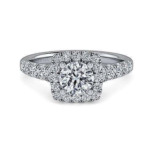 Gabriel - Beckett 18k White Gold Round Halo Engagement Ring