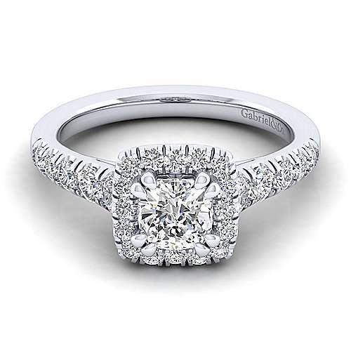 Beckett Platinum Cushion Cut Halo Engagement Ring angle 1