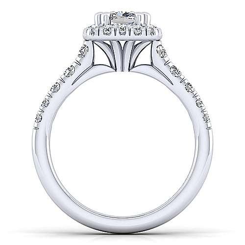 Beckett Platinum Cushion Cut Halo Engagement Ring angle 2