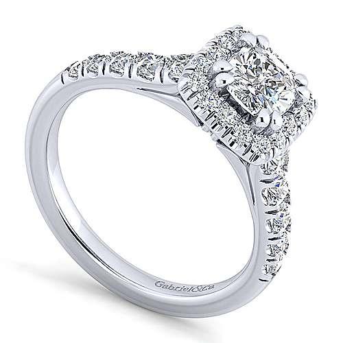 Beckett Platinum Cushion Cut Halo Engagement Ring angle 3