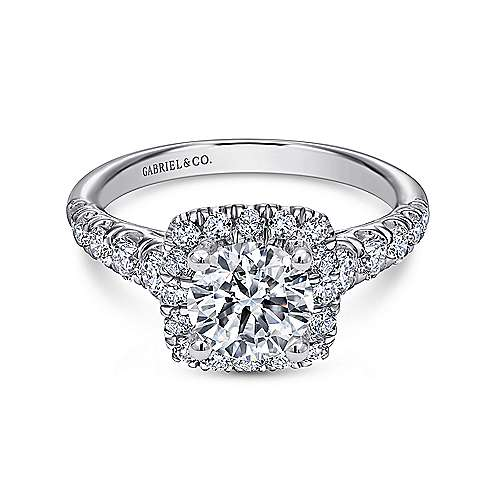 Gabriel - Beckett Platinum Round Halo Engagement Ring