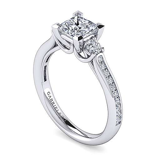 Becky 14k White Gold Princess Cut 3 Stones Engagement Ring angle 3