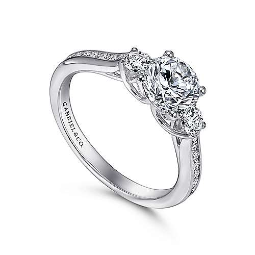 Becky 14k White Gold Round 3 Stones Engagement Ring angle 3