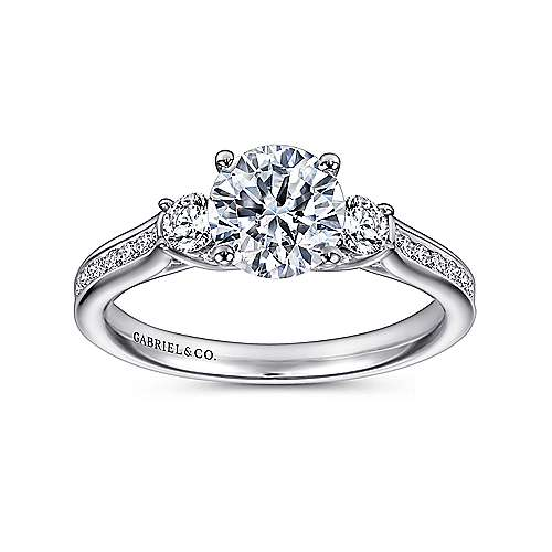 Becky 14k White Gold Round 3 Stones Engagement Ring angle 5
