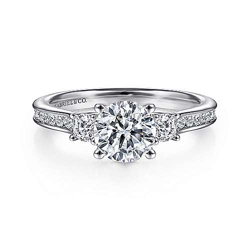 Becky 14k White Gold Round 3 Stones Engagement Ring angle 1