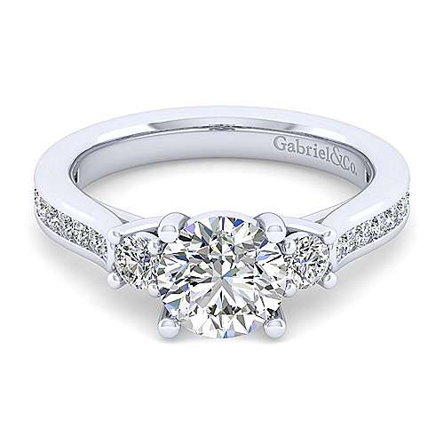 Gabriel - Becky 14k White Gold Round 3 Stones Engagement Ring
