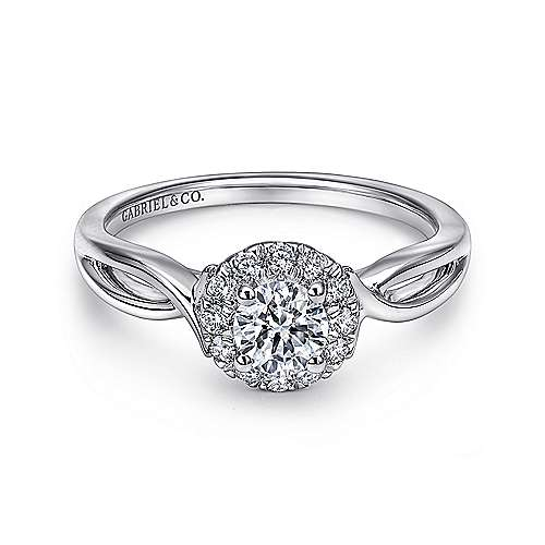 Gabriel - Believe 14k White Gold Round Halo Engagement Ring