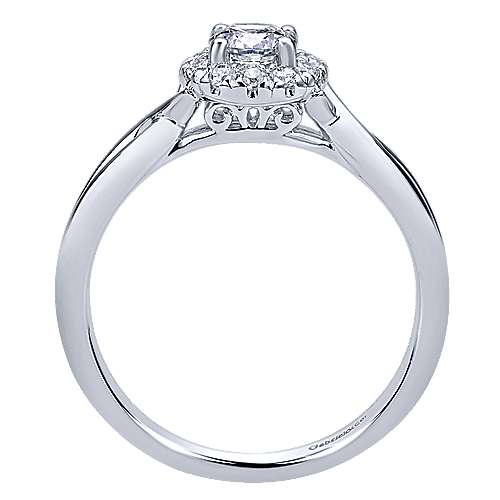 Believe 14k White Gold Round Halo Engagement Ring angle 2