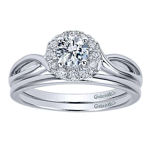 Believe 14k White Gold Round Halo Engagement Ring angle 4