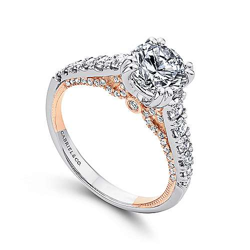 Bella 18k White And Rose Gold Round Straight Engagement Ring angle 3
