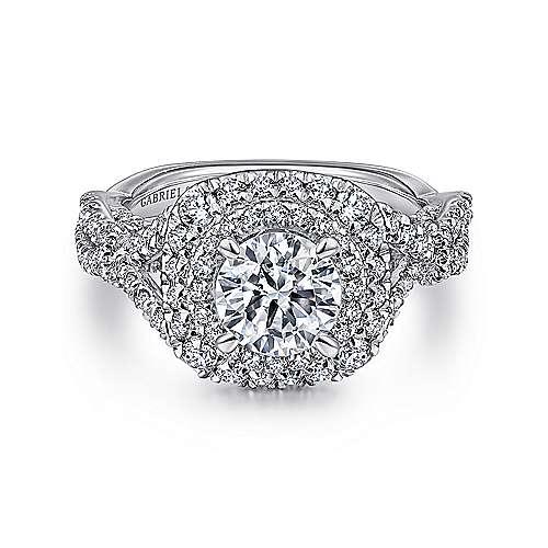 Gabriel - Belladonna 14k White Gold Round Double Halo Engagement Ring